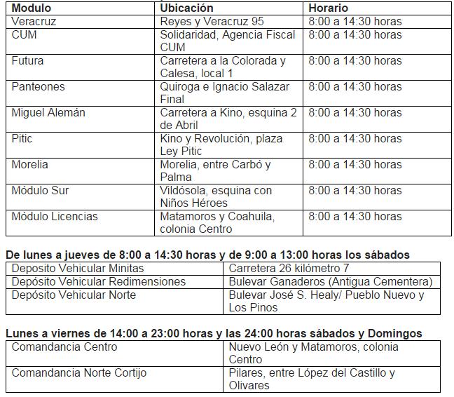 modulos de tesoreria municipal hermosillo